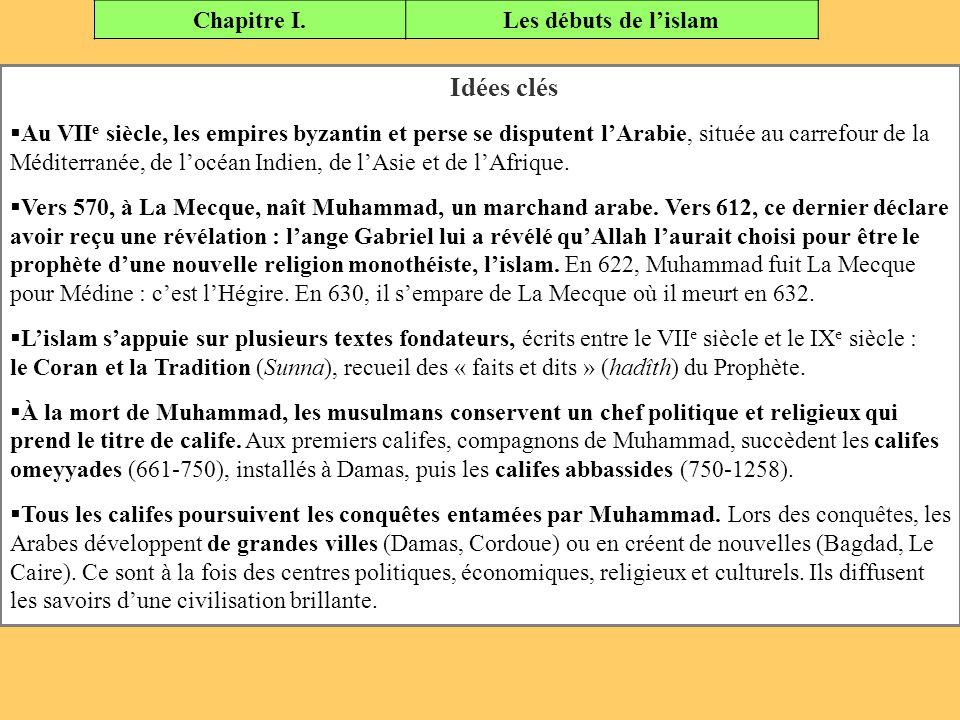 Chapitre I.Les débuts de l'islam Idées clés  Au VII e siècle, les empires byzantin et perse se disputent l'Arabie, située au carrefour de la Méditerr