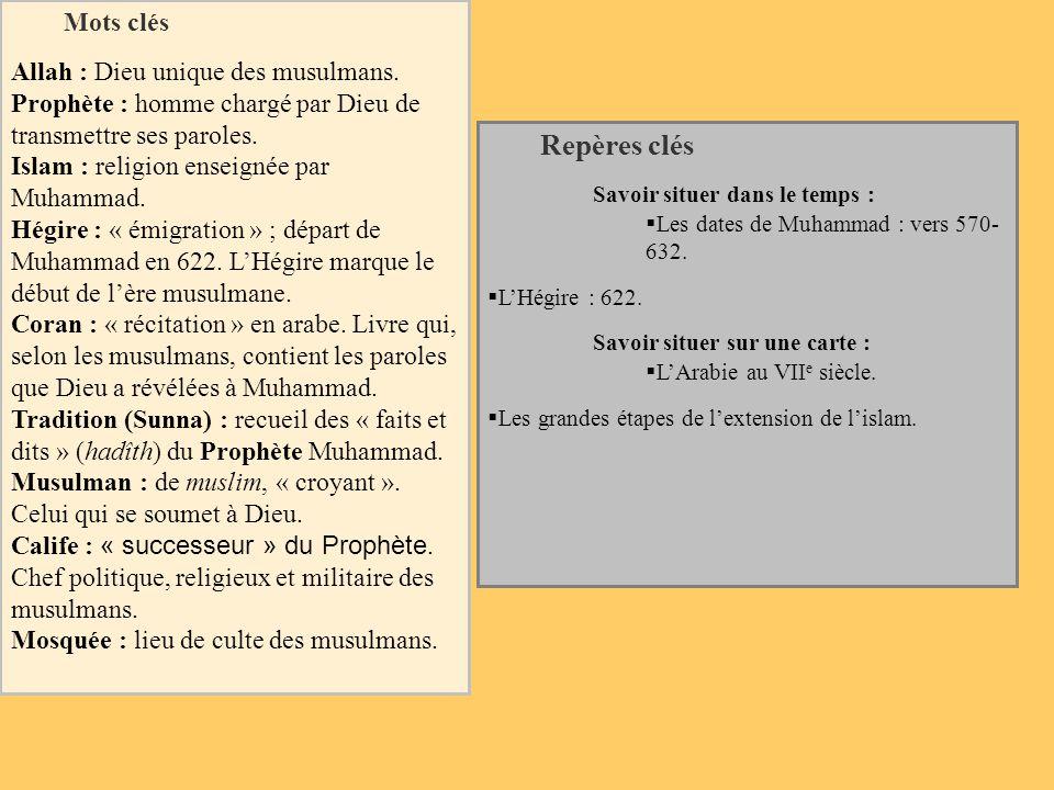 Mots clés Allah : Dieu unique des musulmans. Prophète : homme chargé par Dieu de transmettre ses paroles. Islam : religion enseignée par Muhammad. Hég