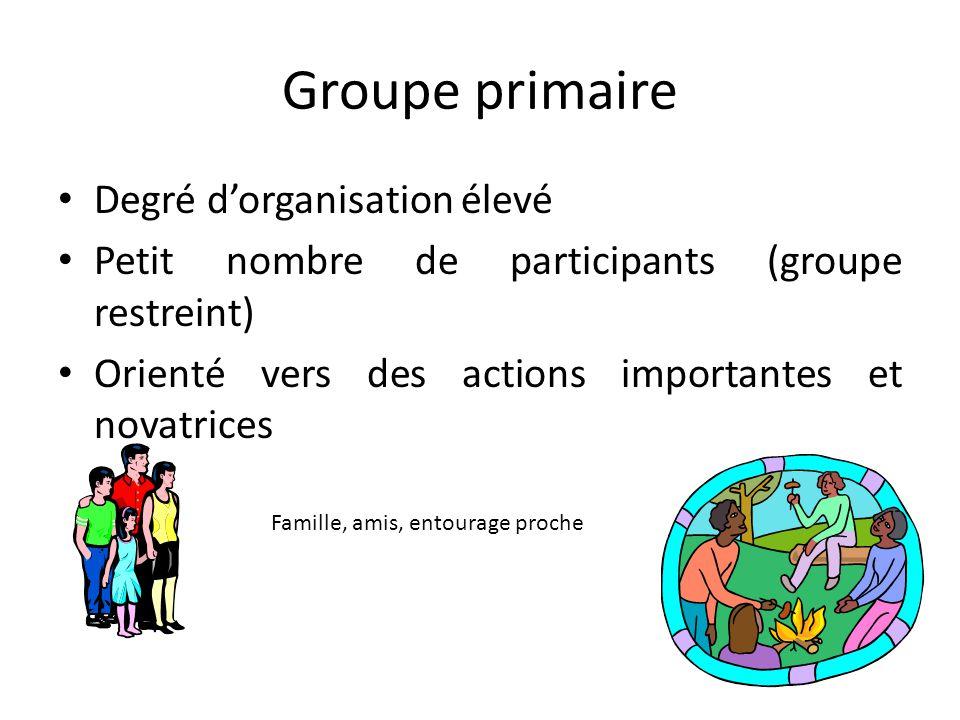 Groupe primaire Degré d'organisation élevé Petit nombre de participants (groupe restreint) Orienté vers des actions importantes et novatrices Famille, amis, entourage proche