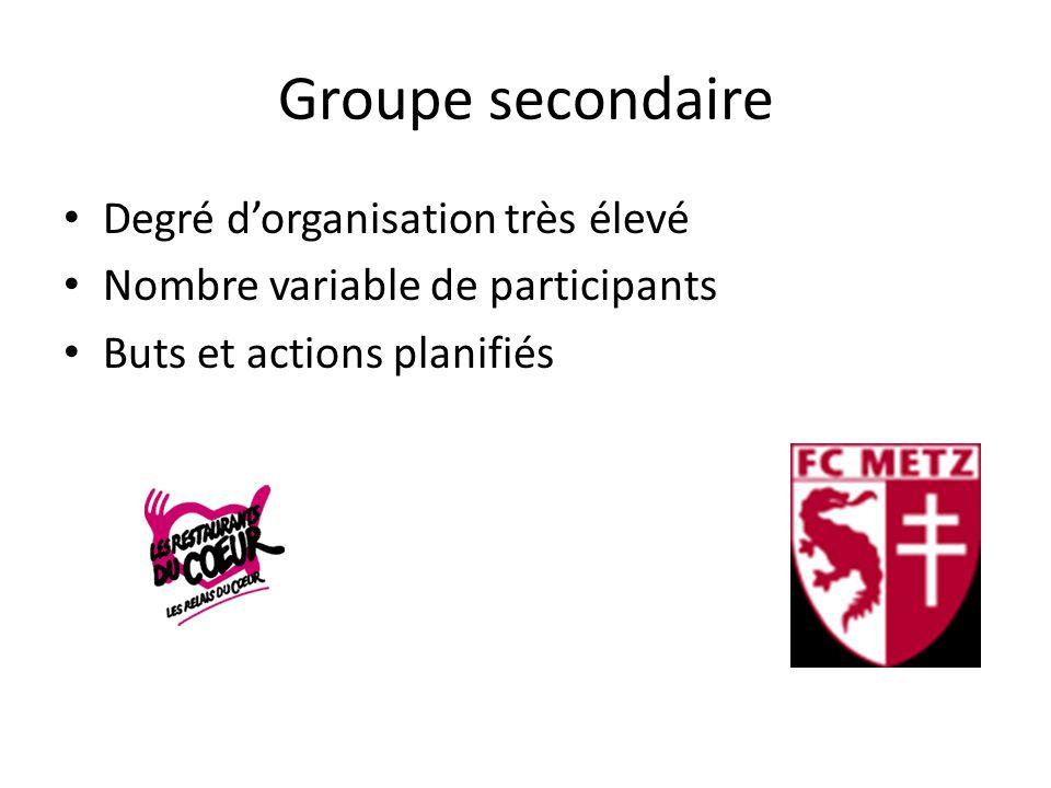Groupe secondaire Degré d'organisation très élevé Nombre variable de participants Buts et actions planifiés