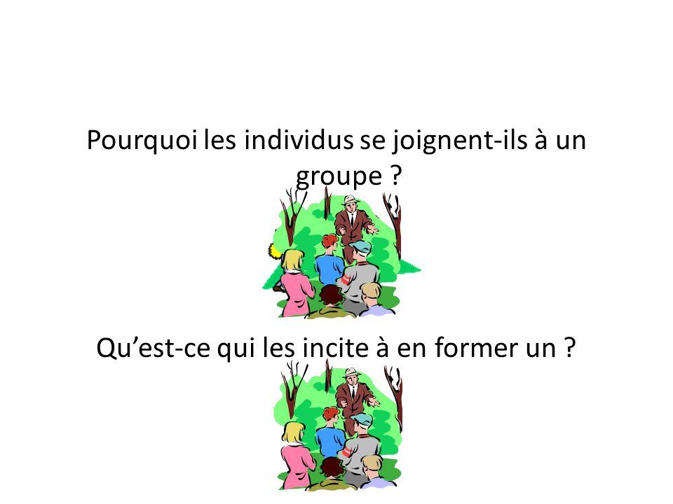 Pourquoi les individus se joignent-ils à un groupe ? Qu'est-ce qui les incite à en former un ?