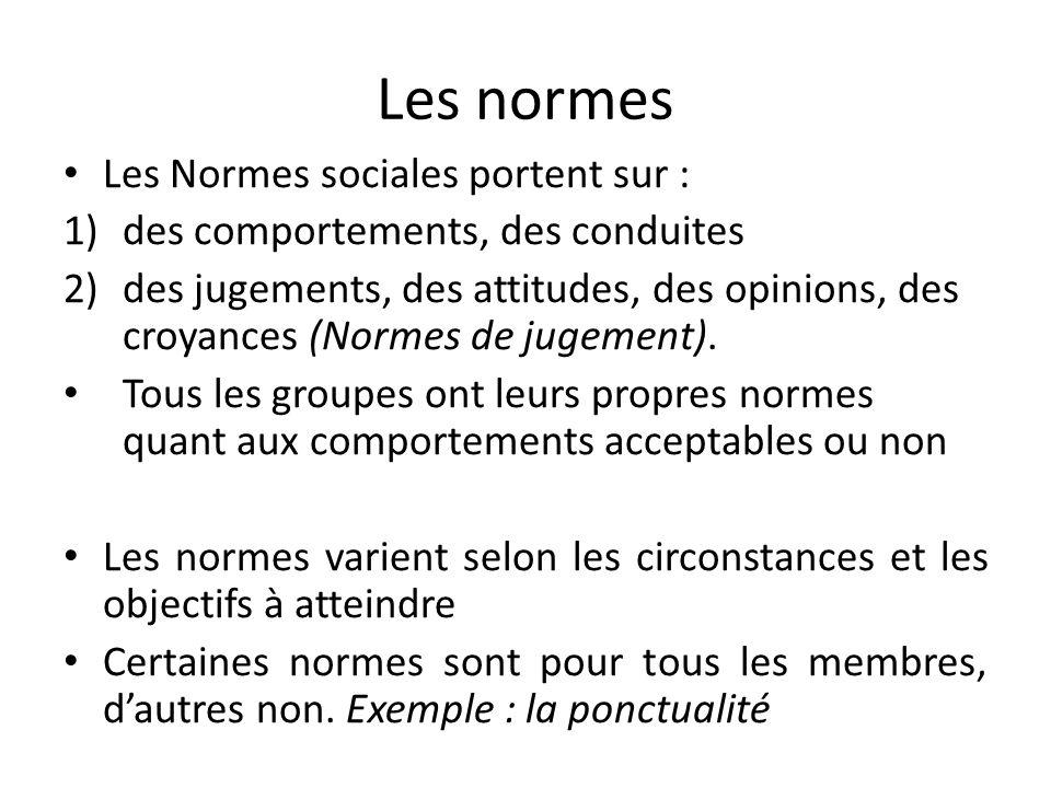 Les normes Les Normes sociales portent sur : 1)des comportements, des conduites 2)des jugements, des attitudes, des opinions, des croyances (Normes de jugement).