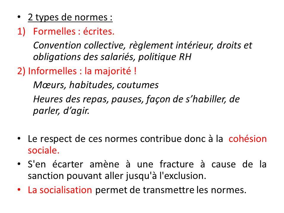 2 types de normes : 1)Formelles : écrites.