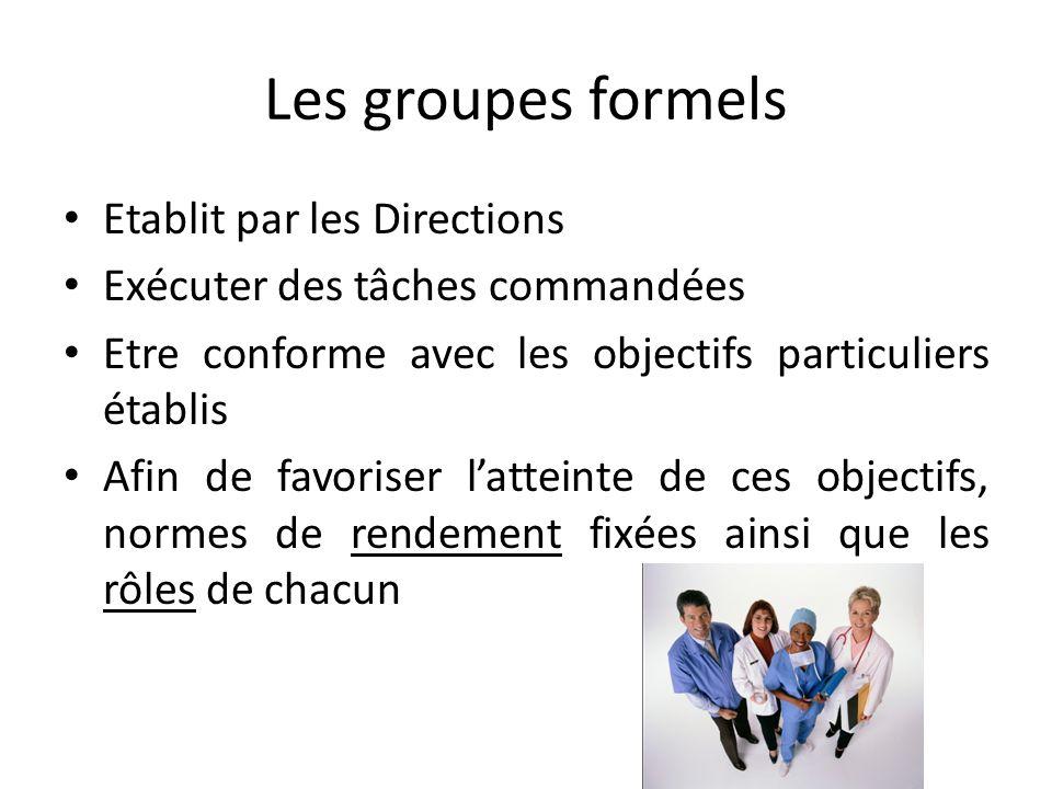 Une classification pour le milieu de travail Le groupe formel : le service marketing Le groupe informel : l'équipe de foot de l'entreprise ***** Le gr