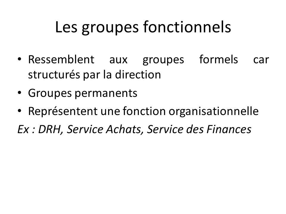 Les groupes fonctionnels Ressemblent aux groupes formels car structurés par la direction Groupes permanents Représentent une fonction organisationnelle Ex : DRH, Service Achats, Service des Finances