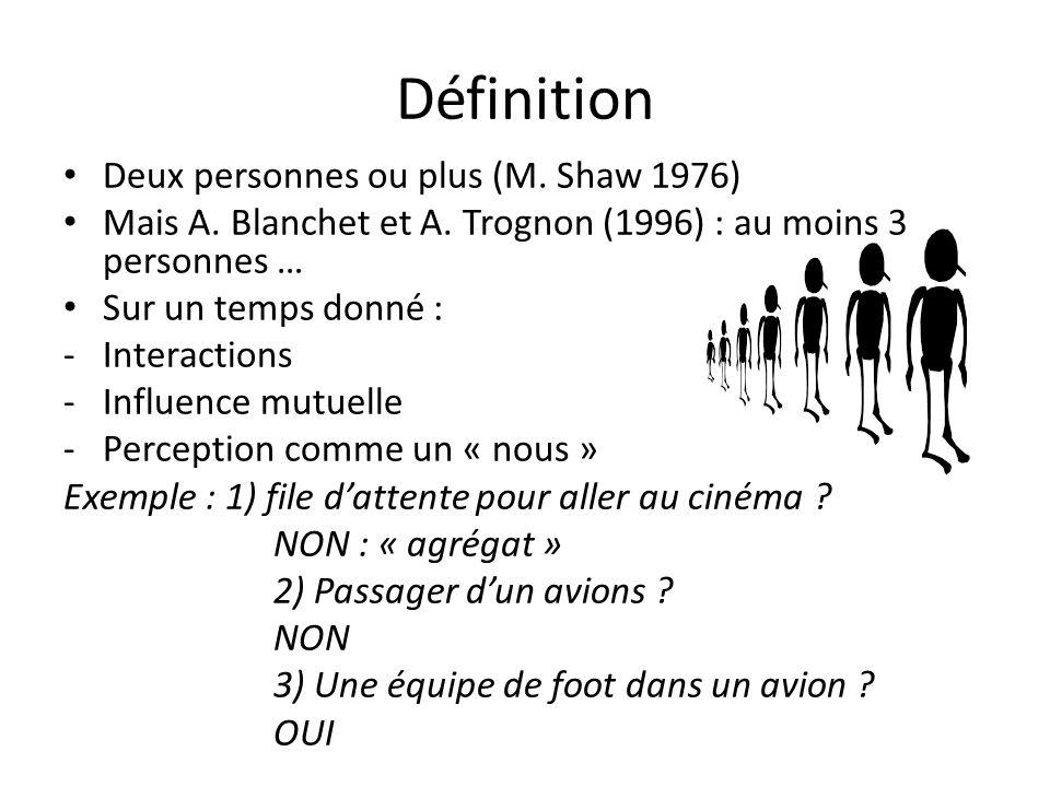 Définition Deux personnes ou plus (M.Shaw 1976) Mais A.