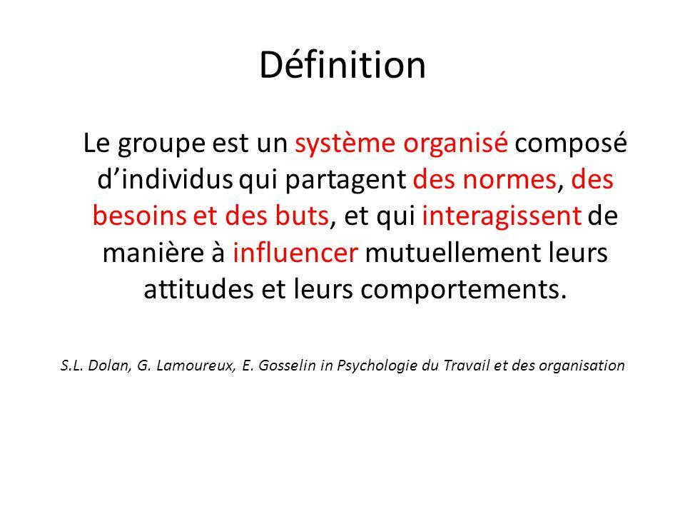Définition Le groupe est un système organisé composé d'individus qui partagent des normes, des besoins et des buts, et qui interagissent de manière à influencer mutuellement leurs attitudes et leurs comportements.