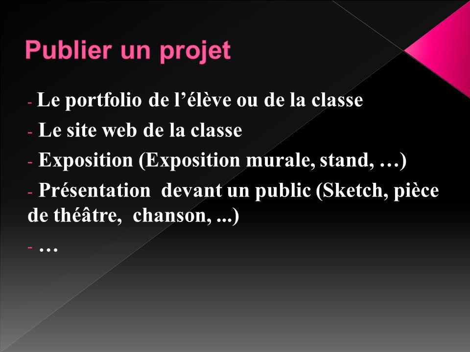- Le portfolio de l'élève ou de la classe - Le site web de la classe - Exposition (Exposition murale, stand, …) - Présentation devant un public (Sketc