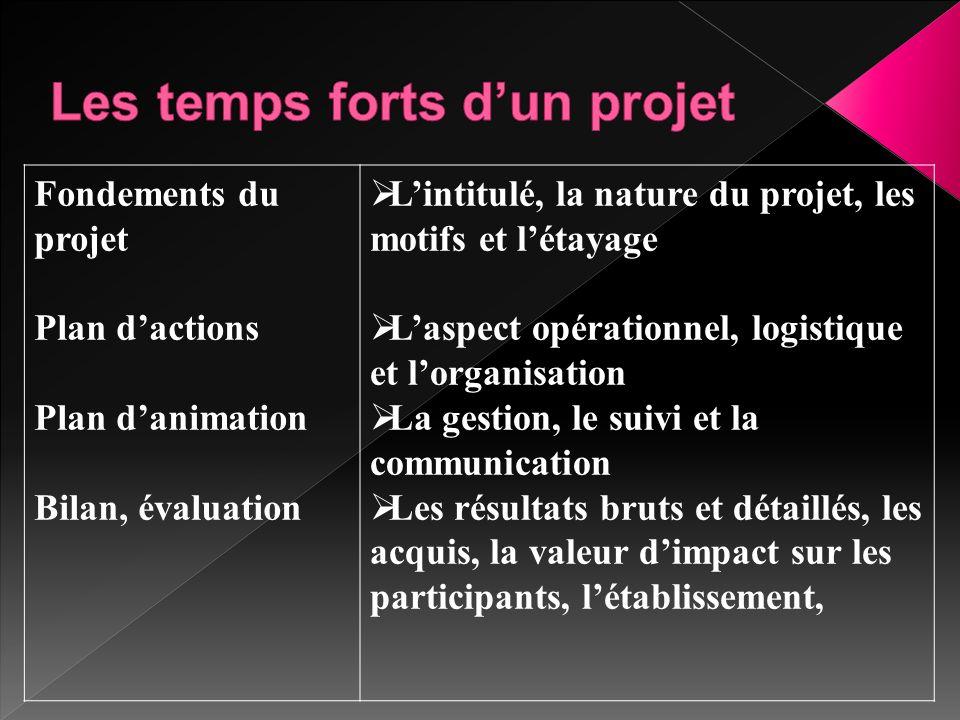 Fondements du projet Plan d'actions Plan d'animation Bilan, évaluation  L'intitulé, la nature du projet, les motifs et l'étayage  L'aspect opération