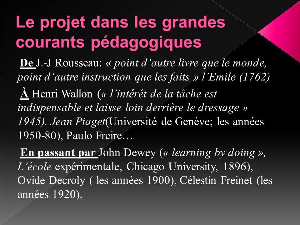 De J.-J Rousseau: « point d'autre livre que le monde, point d'autre instruction que les faits » l'Emile (1762) À Henri Wallon (« l'intérêt de la tâche