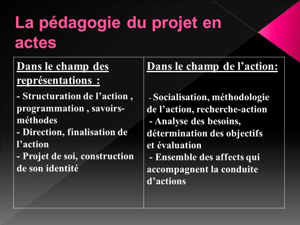 Dans le champ des représentations : - Structuration de l'action, programmation, savoirs- méthodes - Direction, finalisation de l'action - Projet de so