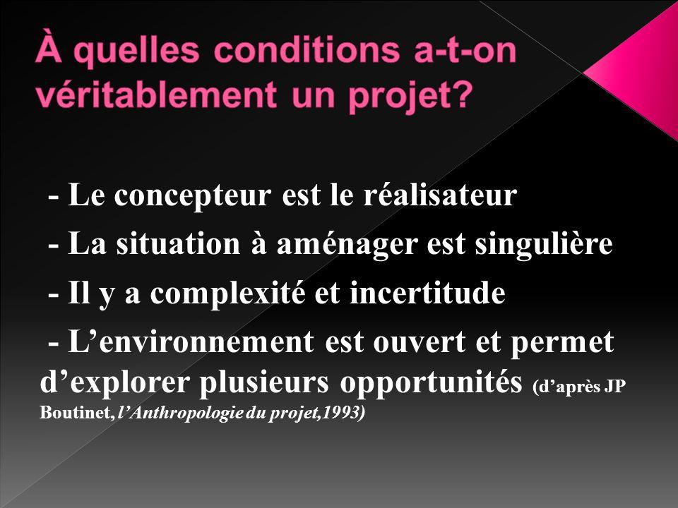 - Le concepteur est le réalisateur - La situation à aménager est singulière - Il y a complexité et incertitude - L'environnement est ouvert et permet