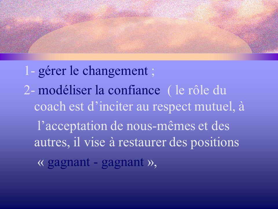 1- gérer le changement ; 2- modéliser la confiance ( le rôle du coach est d'inciter au respect mutuel, à l'acceptation de nous-mêmes et des autres, il