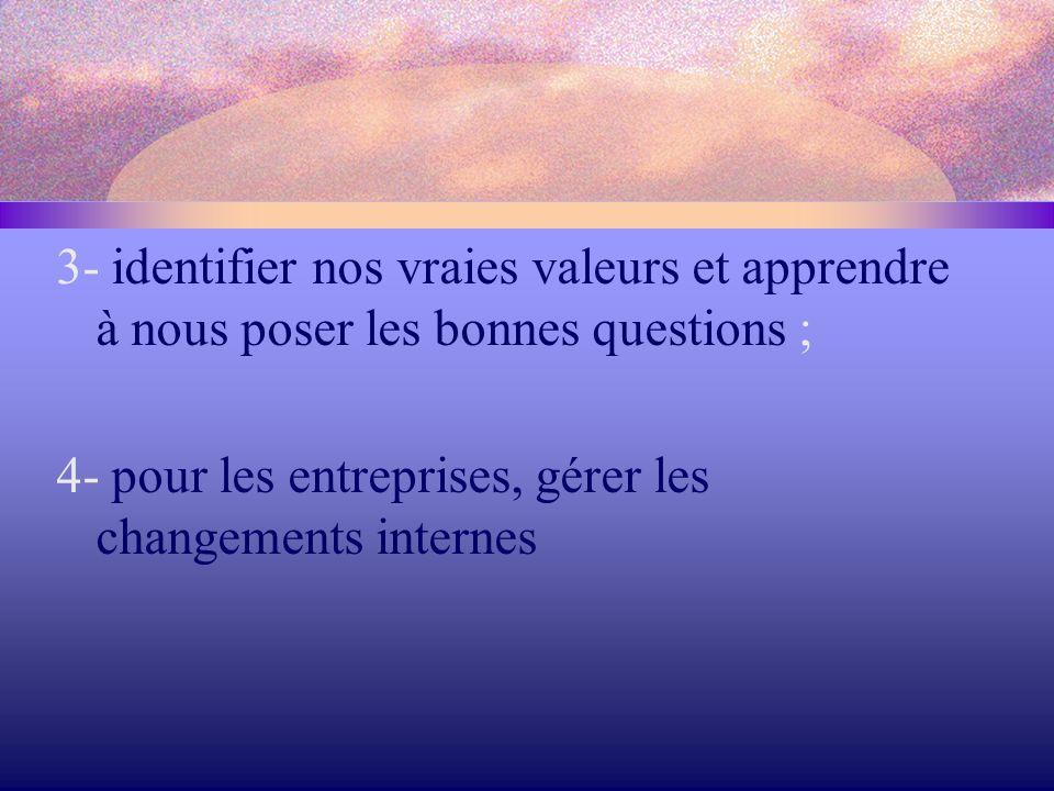 3- identifier nos vraies valeurs et apprendre à nous poser les bonnes questions ; 4- pour les entreprises, gérer les changements internes