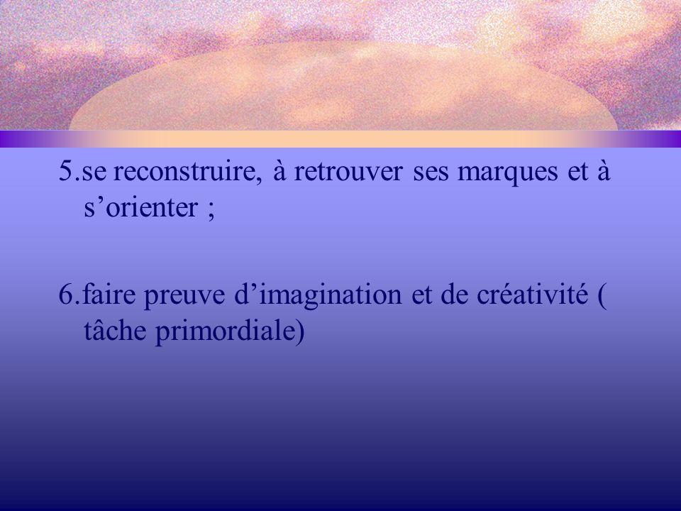 5.se reconstruire, à retrouver ses marques et à s'orienter ; 6.faire preuve d'imagination et de créativité ( tâche primordiale)