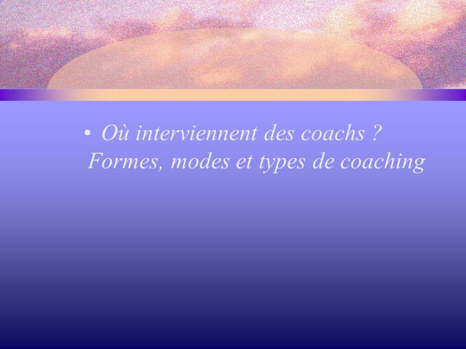 Où interviennent des coachs ? Formes, modes et types de coaching