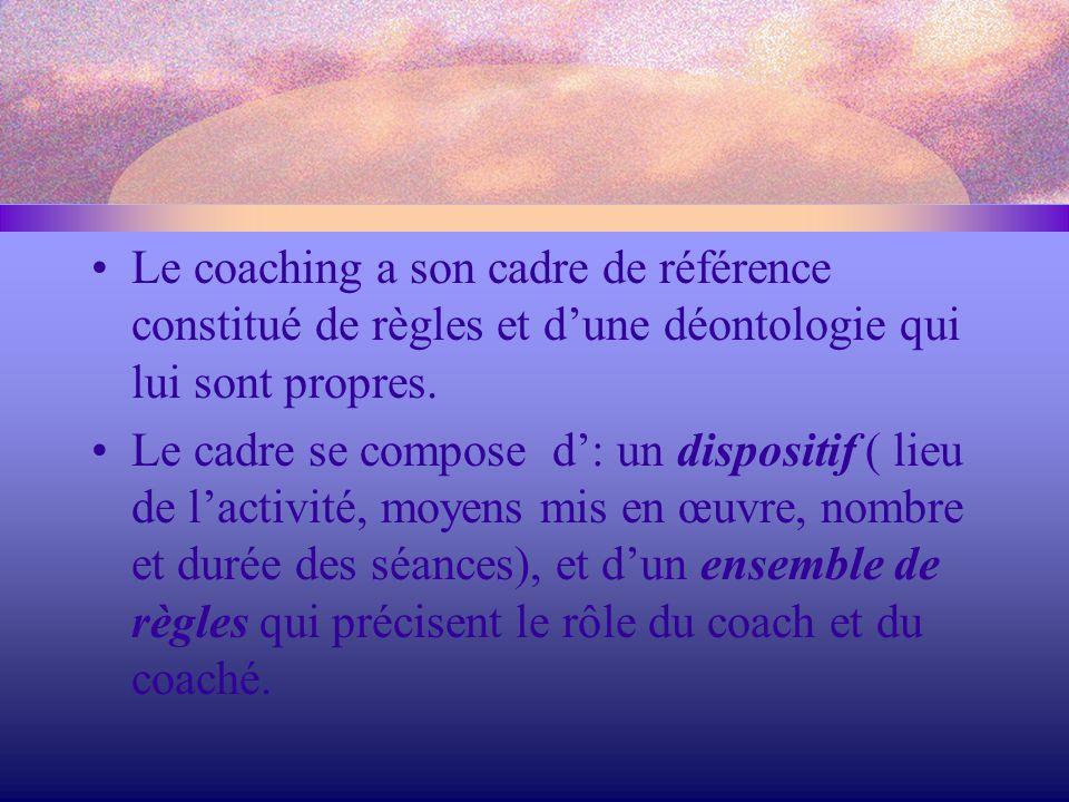 Le coaching a son cadre de référence constitué de règles et d'une déontologie qui lui sont propres. Le cadre se compose d': un dispositif ( lieu de l'