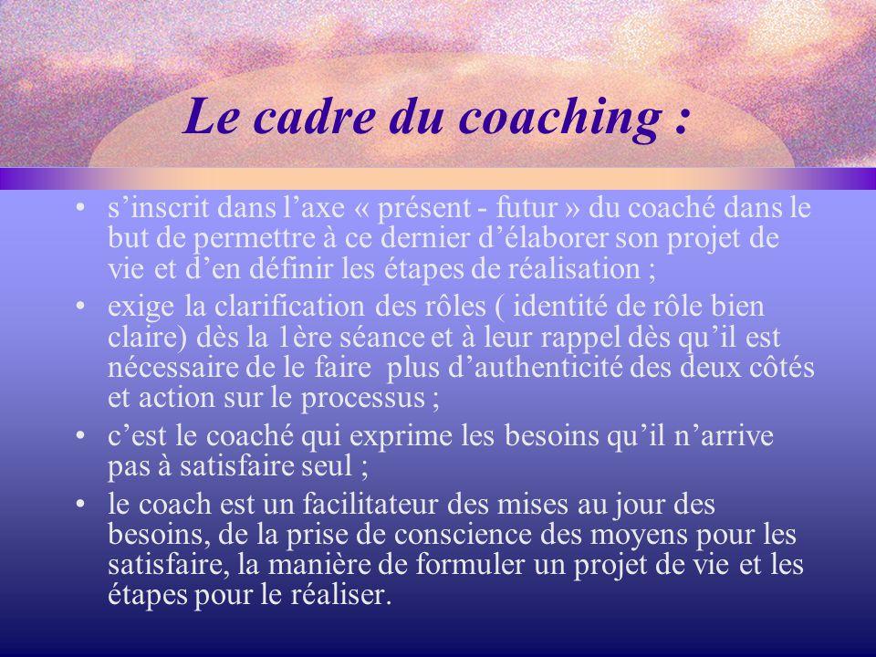 Le cadre du coaching : s'inscrit dans l'axe « présent - futur » du coaché dans le but de permettre à ce dernier d'élaborer son projet de vie et d'en d