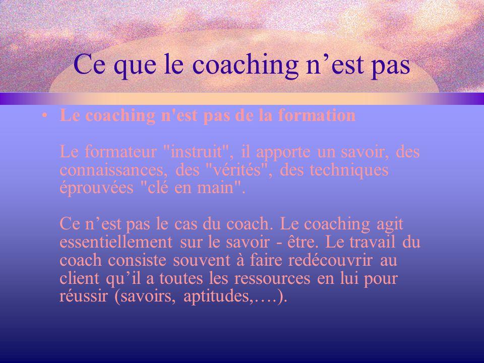 Ce que le coaching n'est pas Le coaching n est pas du mentorat Le mentorat est une relation d'aide et d'apprentissage où une personne expérimentée, le mentor, offre appui, défi et encouragement et partage ses connaissances, son expérience, ses idées, avec une autre personne qui est disposée à tirer profit de cet échange.