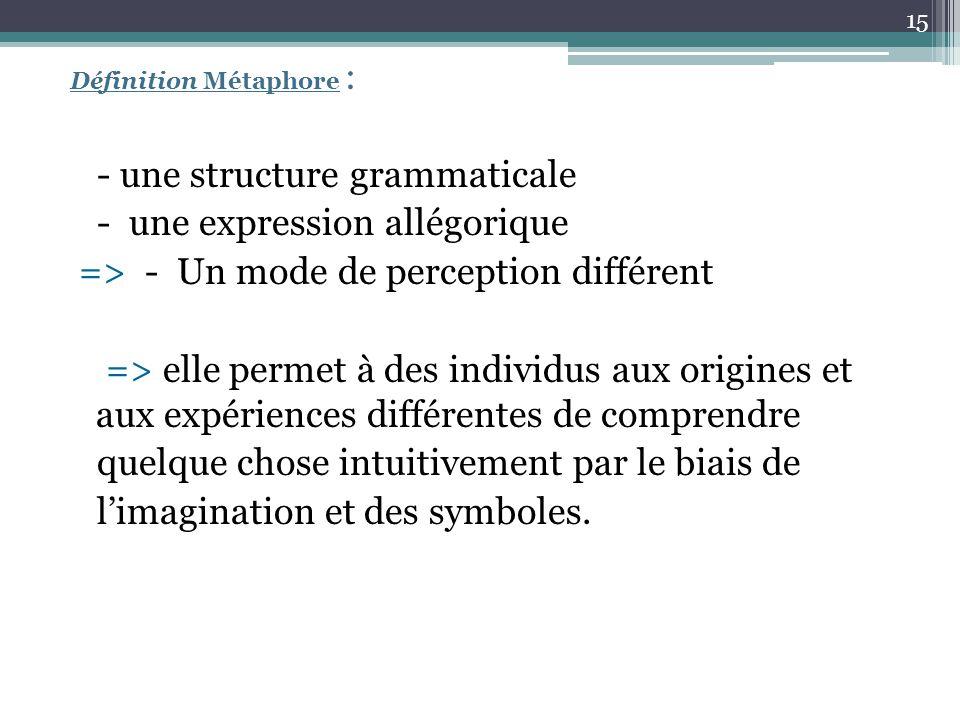 Définition Métaphore : - une structure grammaticale - une expression allégorique => - Un mode de perception différent => elle permet à des individus a