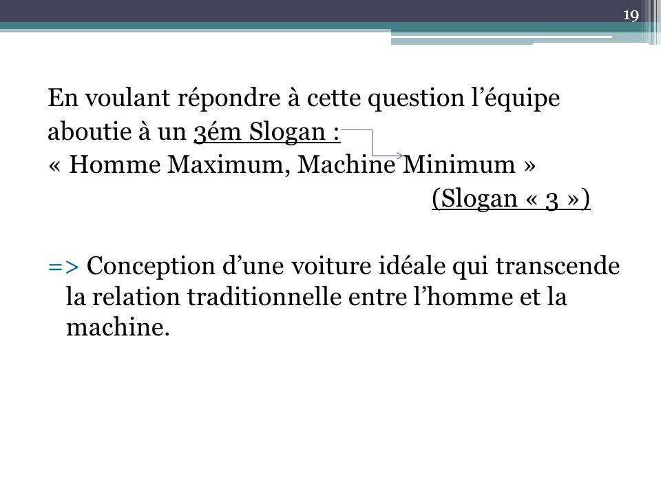 En voulant répondre à cette question l'équipe aboutie à un 3ém Slogan : « Homme Maximum, Machine Minimum » (Slogan « 3 ») => Conception d'une voiture
