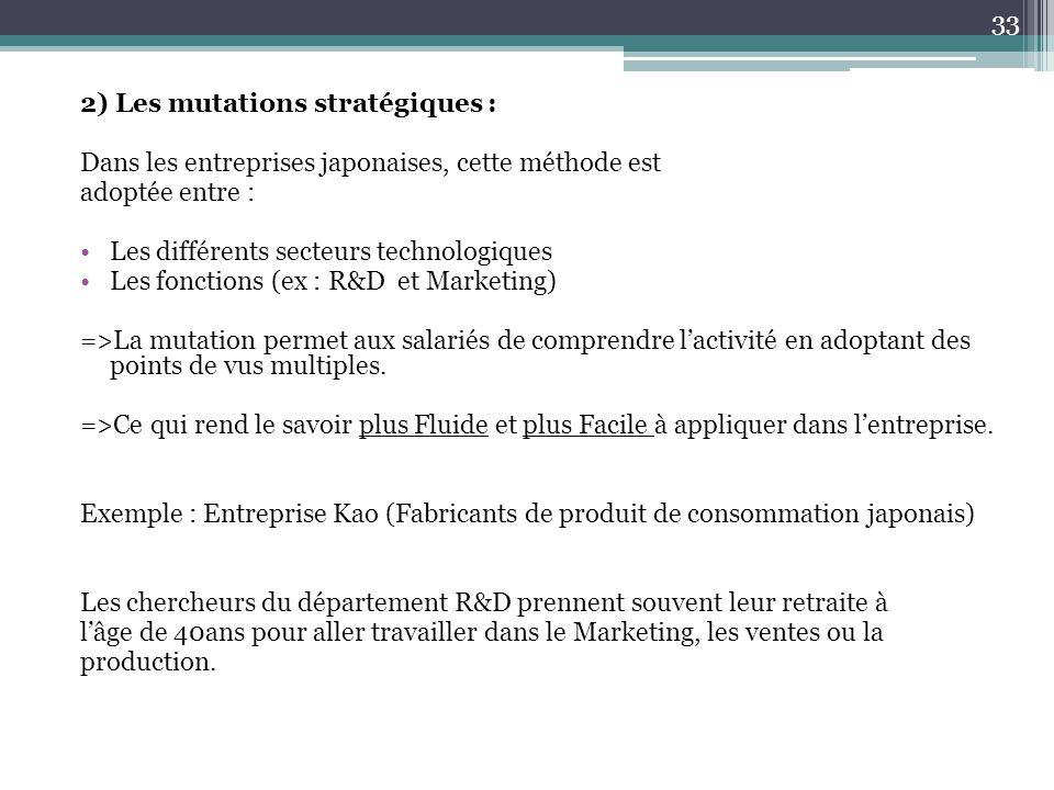 2) Les mutations stratégiques : Dans les entreprises japonaises, cette méthode est adoptée entre : Les différents secteurs technologiques Les fonction