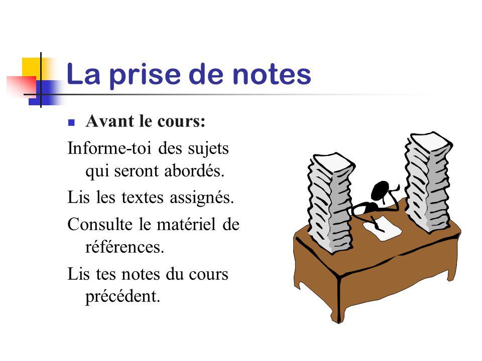 La prise de notes Les notes servent d'aide-mémoire à cours et à long terme. Sans notes, tu risques d'oublier jusqu'à 80% de la matière enseignée. La p