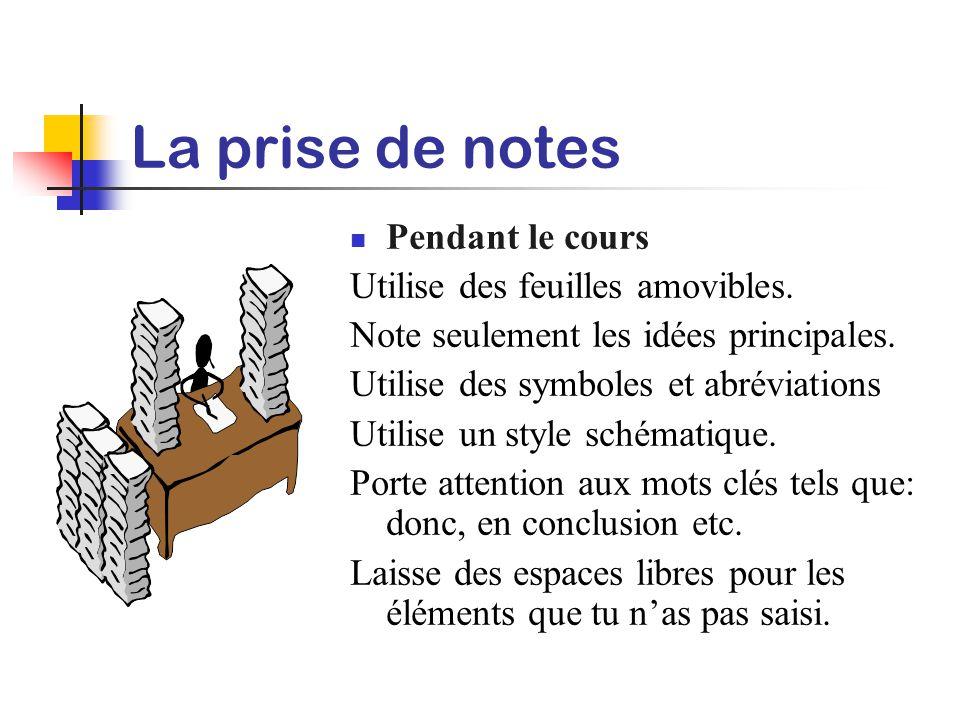La prise de notes Avant le cours: Informe-toi des sujets qui seront abordés. Lis les textes assignés. Consulte le matériel de références. Lis tes note