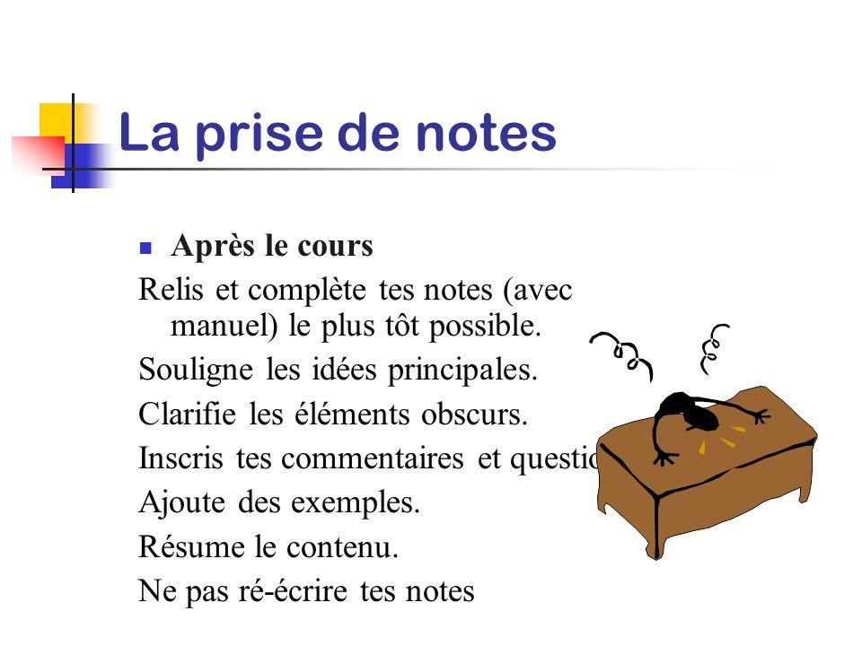 La prise de notes Pendant le cours Utilise des feuilles amovibles. Note seulement les idées principales. Utilise des symboles et abréviations Utilise