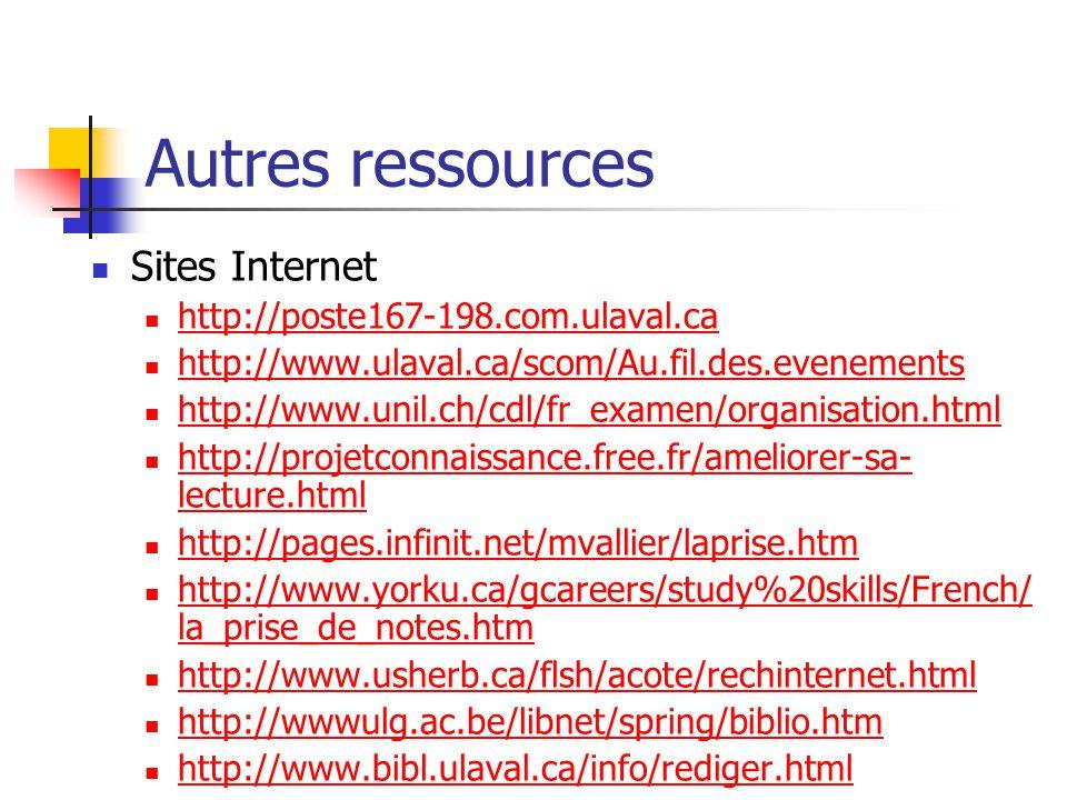 Autres ressources Livres Ellis, D., La clé du savoir, Ontario, Institut des technologies télématiques, 1991. Gauthier, L.., Poulin, N., Savoir apprend