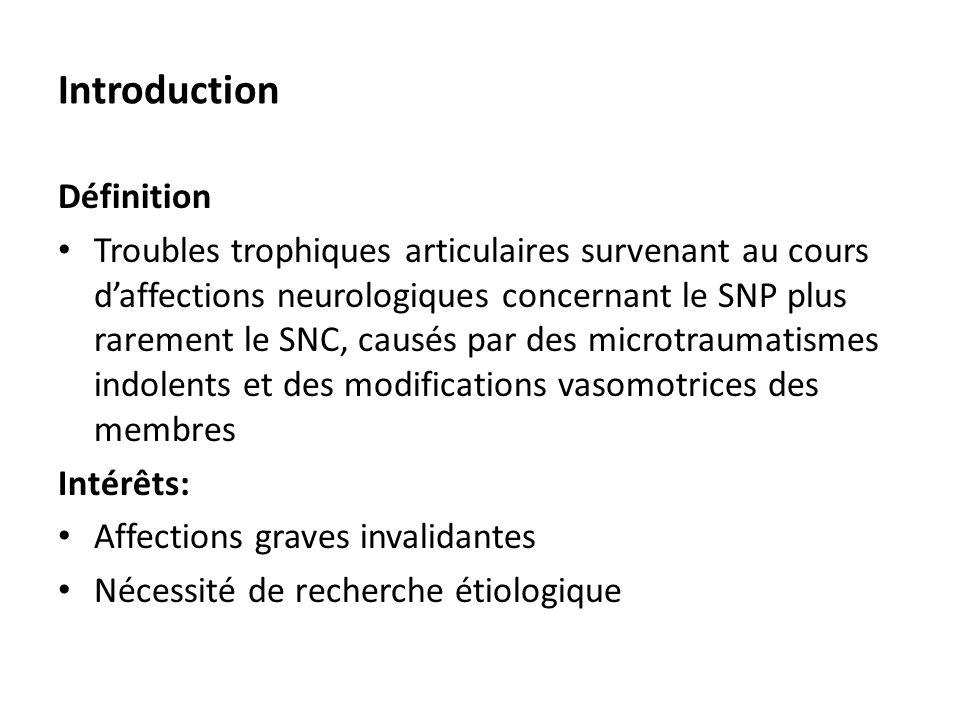 Introduction Définition Troubles trophiques articulaires survenant au cours d'affections neurologiques concernant le SNP plus rarement le SNC, causés