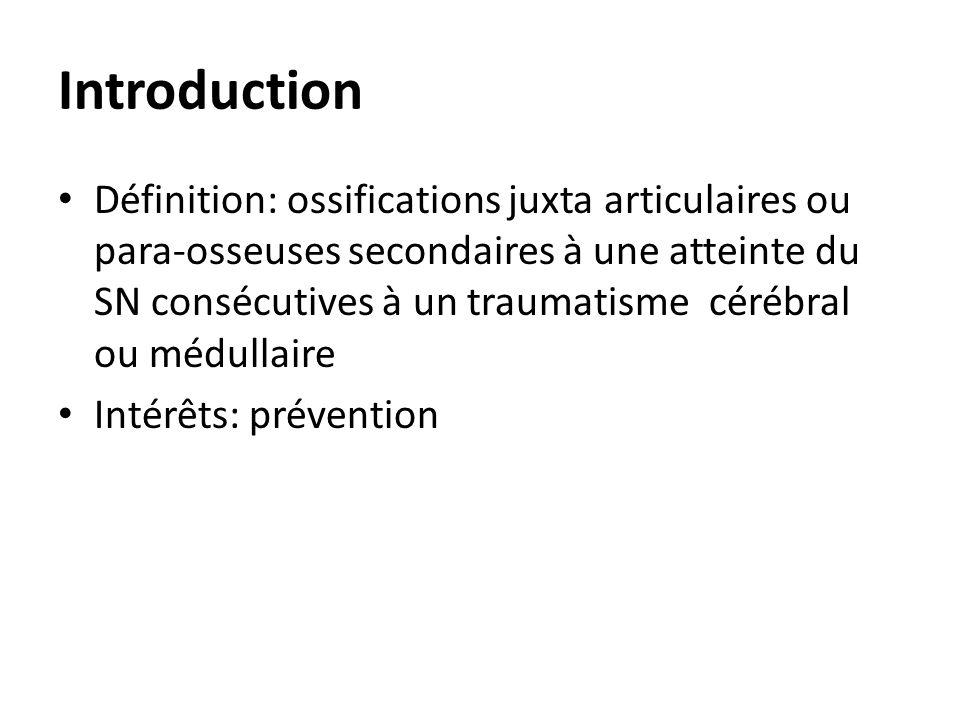 Introduction Définition: ossifications juxta articulaires ou para-osseuses secondaires à une atteinte du SN consécutives à un traumatisme cérébral ou