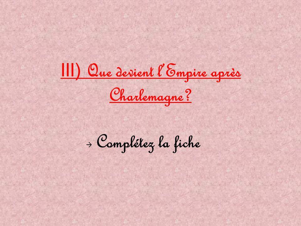 III) Que devient l'Empire après Charlemagne?  Complétez la fiche