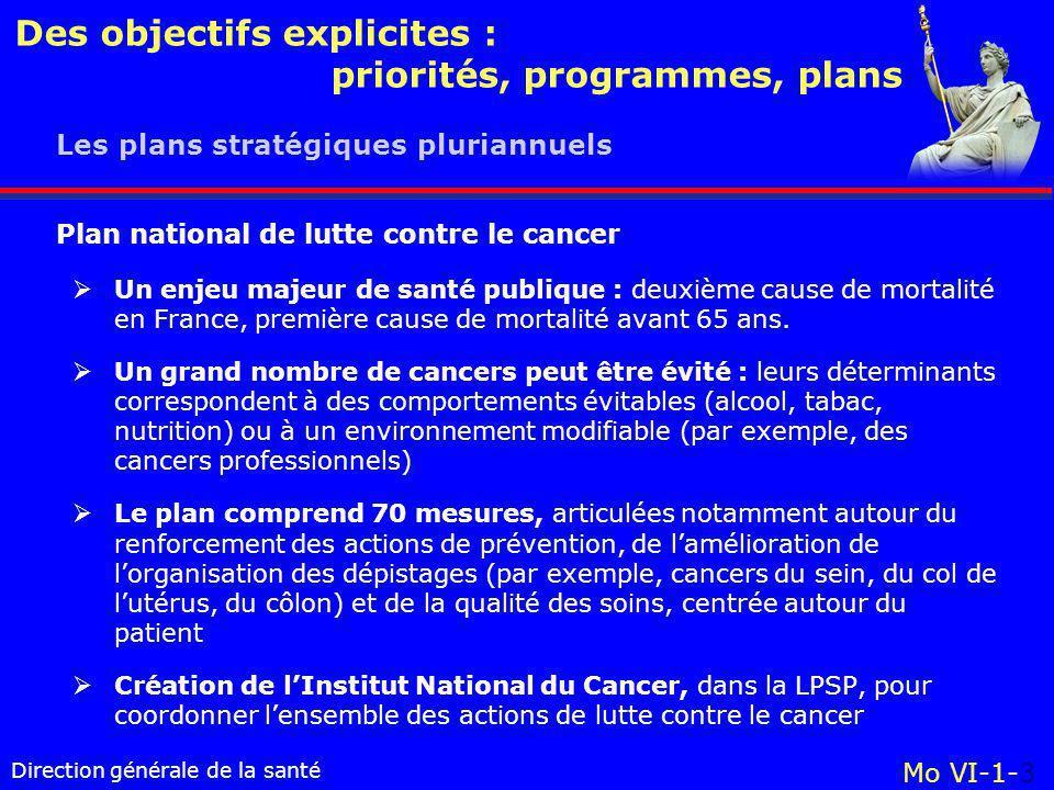 Direction générale de la santé Des objectifs explicites : priorités, programmes, plans Mo VI-1-3 Les plans stratégiques pluriannuels  Un enjeu majeur