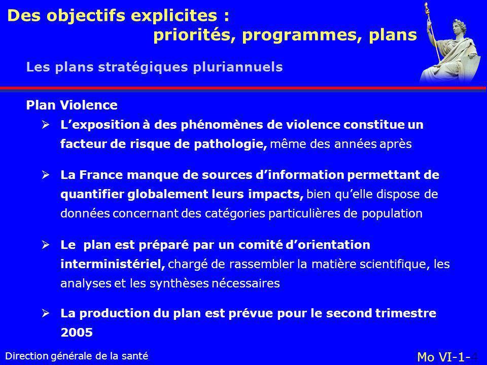 Direction générale de la santé Des objectifs explicites : priorités, programmes, plans Mo VI-1-4 Les plans stratégiques pluriannuels  L'exposition à