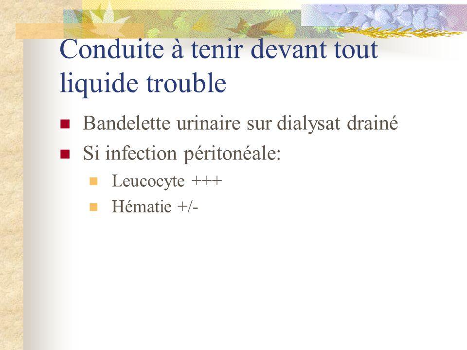 Conduite à tenir devant tout liquide trouble Bandelette urinaire sur dialysat drainé Si infection péritonéale: Leucocyte +++ Hématie +/-