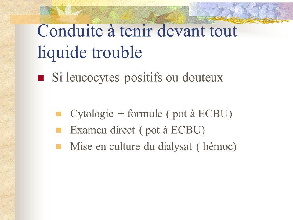 Conduite à tenir devant tout liquide trouble Si leucocytes positifs ou douteux Cytologie + formule ( pot à ECBU) Examen direct ( pot à ECBU) Mise en c