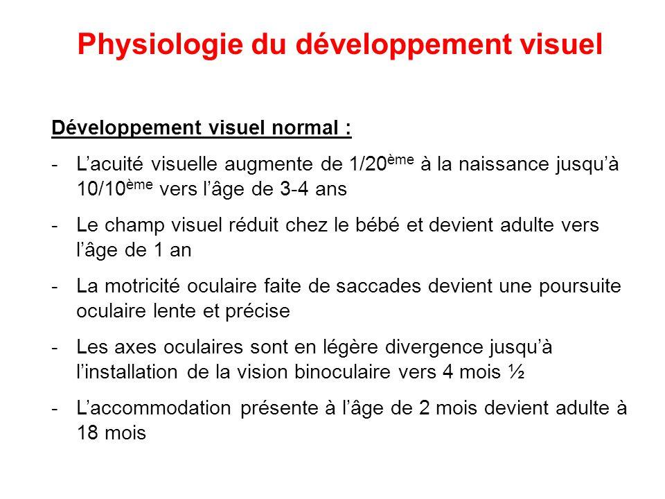 Développement visuel normal : -L'acuité visuelle augmente de 1/20 ème à la naissance jusqu'à 10/10 ème vers l'âge de 3-4 ans -Le champ visuel réduit c