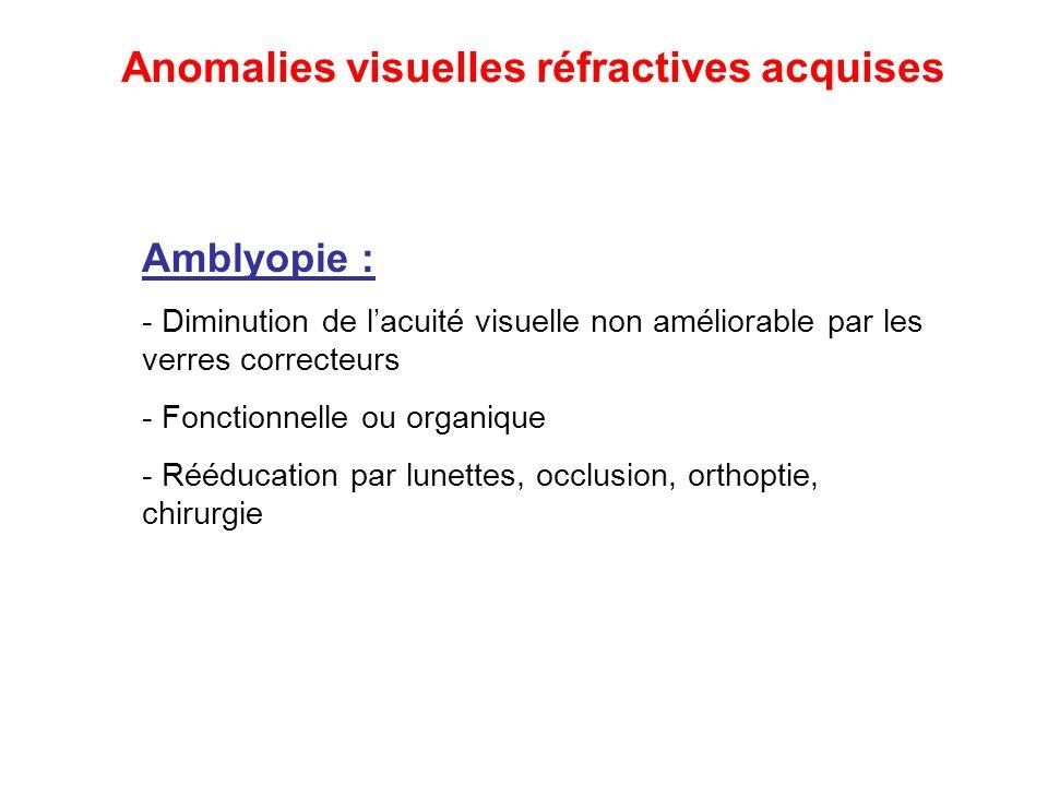 Amblyopie : - Diminution de l'acuité visuelle non améliorable par les verres correcteurs - Fonctionnelle ou organique - Rééducation par lunettes, occl