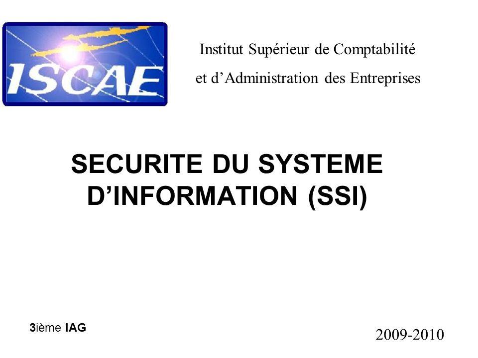 SECURITE DU SYSTEME D'INFORMATION (SSI) Institut Supérieur de Comptabilité et d'Administration des Entreprises 2009-2010 3ième IAG