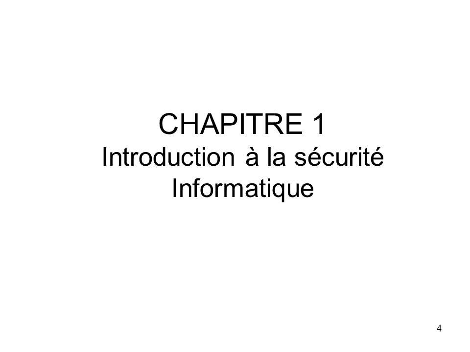 CHAPITRE 1 Introduction à la sécurité Informatique 4