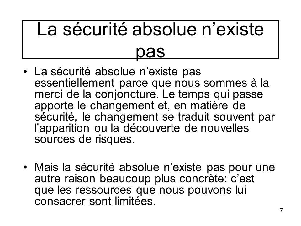 La sécurité absolue n'existe pas La sécurité absolue n'existe pas essentiellement parce que nous sommes à la merci de la conjoncture. Le temps qui pas