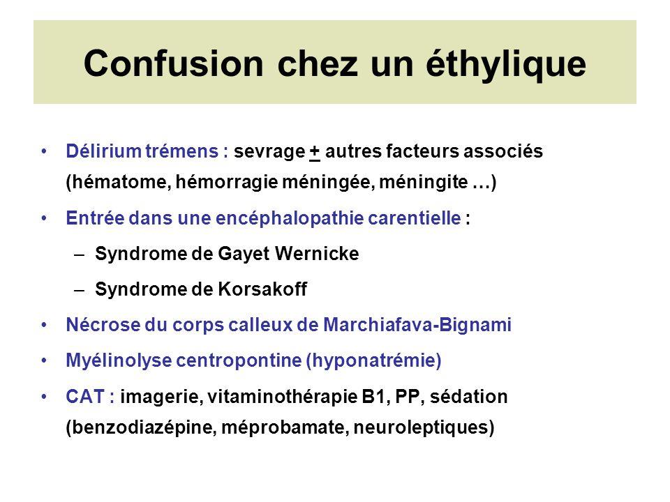 Confusion chez un éthylique Délirium trémens : sevrage + autres facteurs associés (hématome, hémorragie méningée, méningite …) Entrée dans une encépha