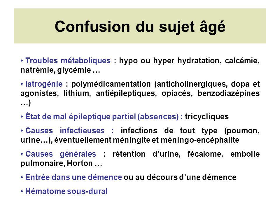 Confusion du sujet âgé Troubles métaboliques : hypo ou hyper hydratation, calcémie, natrémie, glycémie … Iatrogénie : polymédicamentation (anticholine
