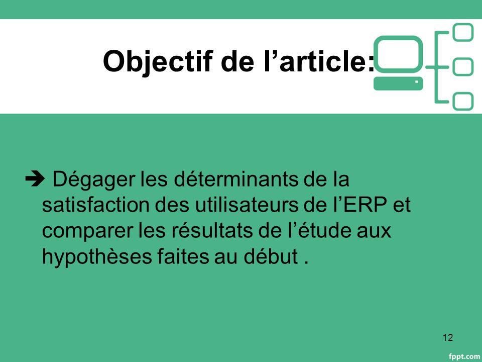 Objectif de l'article:  Dégager les déterminants de la satisfaction des utilisateurs de l'ERP et comparer les résultats de l'étude aux hypothèses faites au début.