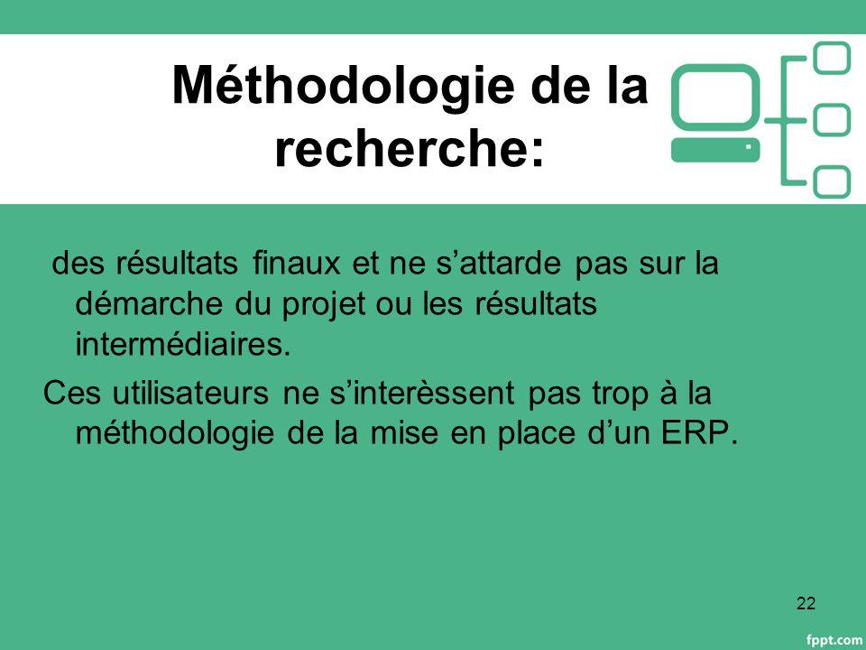 Méthodologie de la recherche: des résultats finaux et ne s'attarde pas sur la démarche du projet ou les résultats intermédiaires.