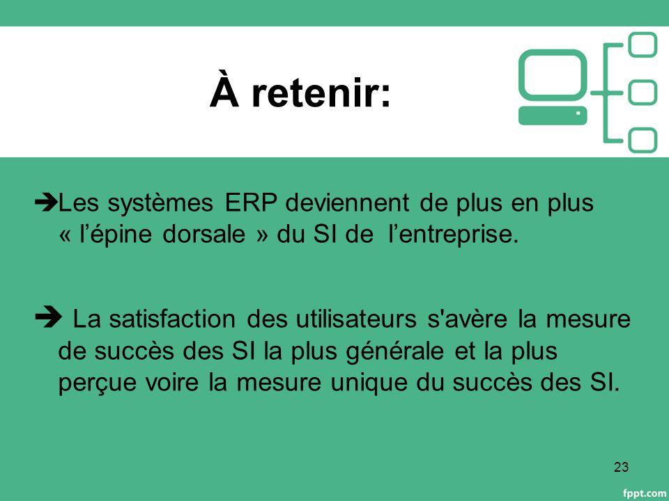 À retenir:  Les systèmes ERP deviennent de plus en plus « l'épine dorsale » du SI de l'entreprise.