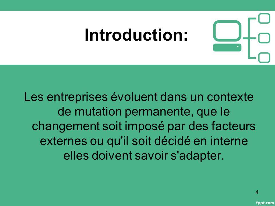 Introduction: Les entreprises évoluent dans un contexte de mutation permanente, que le changement soit imposé par des facteurs externes ou qu il soit décidé en interne elles doivent savoir s adapter.