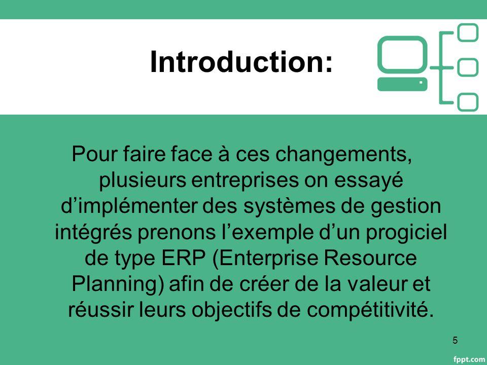 Introduction: Pour faire face à ces changements, plusieurs entreprises on essayé d'implémenter des systèmes de gestion intégrés prenons l'exemple d'un progiciel de type ERP (Enterprise Resource Planning) afin de créer de la valeur et réussir leurs objectifs de compétitivité.