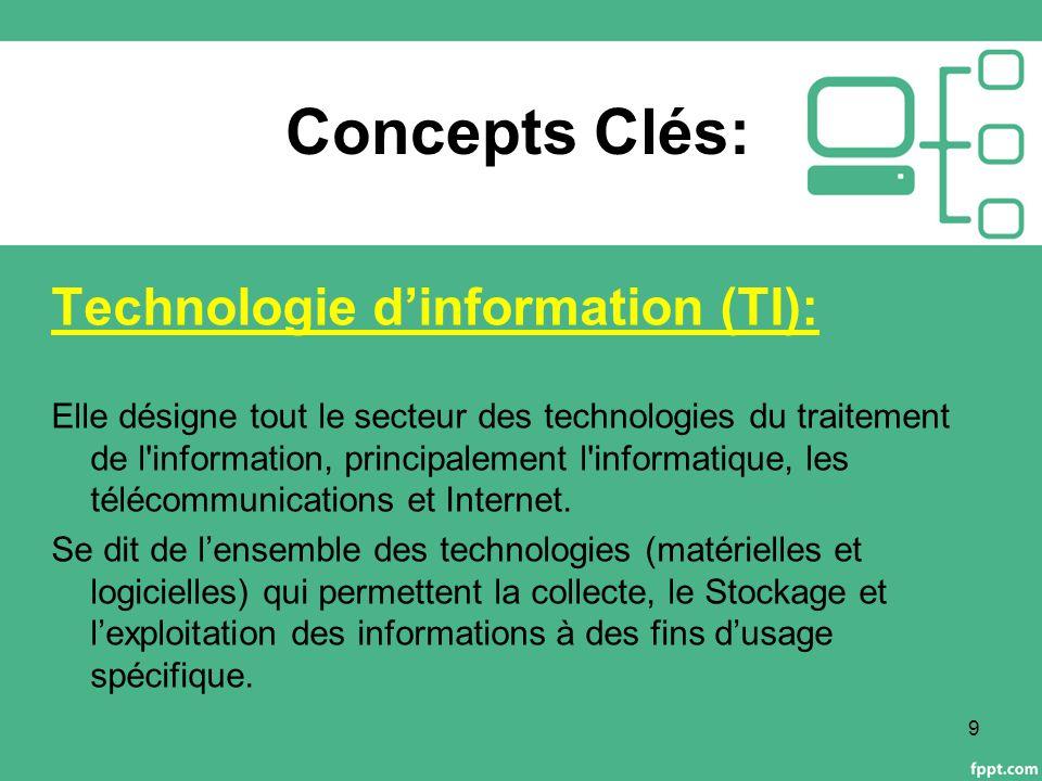 Concepts Clés: Technologie d'information (TI): Elle désigne tout le secteur des technologies du traitement de l information, principalement l informatique, les télécommunications et Internet.